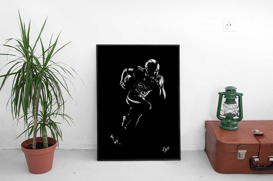 Football américain – tableau moderne d'homme sportif au pastel sec