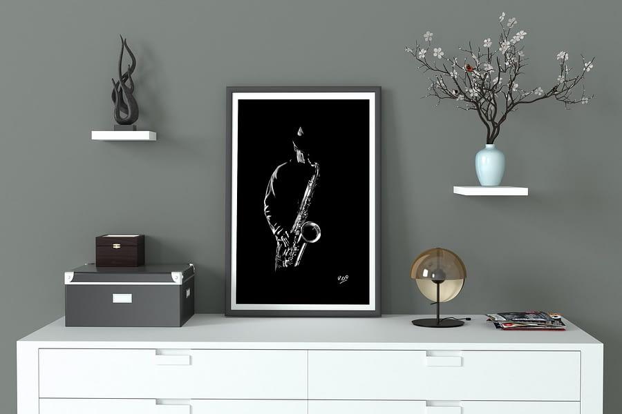Le saxophoniste 3 : Tableau de musique – saxophoniste au pastel sec. Saxophonist jazz modern painting