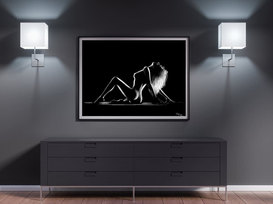tableau moderne femme nue 1 au pastel sec
