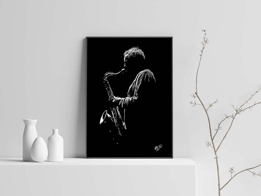 Le saxophoniste 4 : Tableau de musique – saxophoniste au pastel sec. Saxophonist jazz modern painting