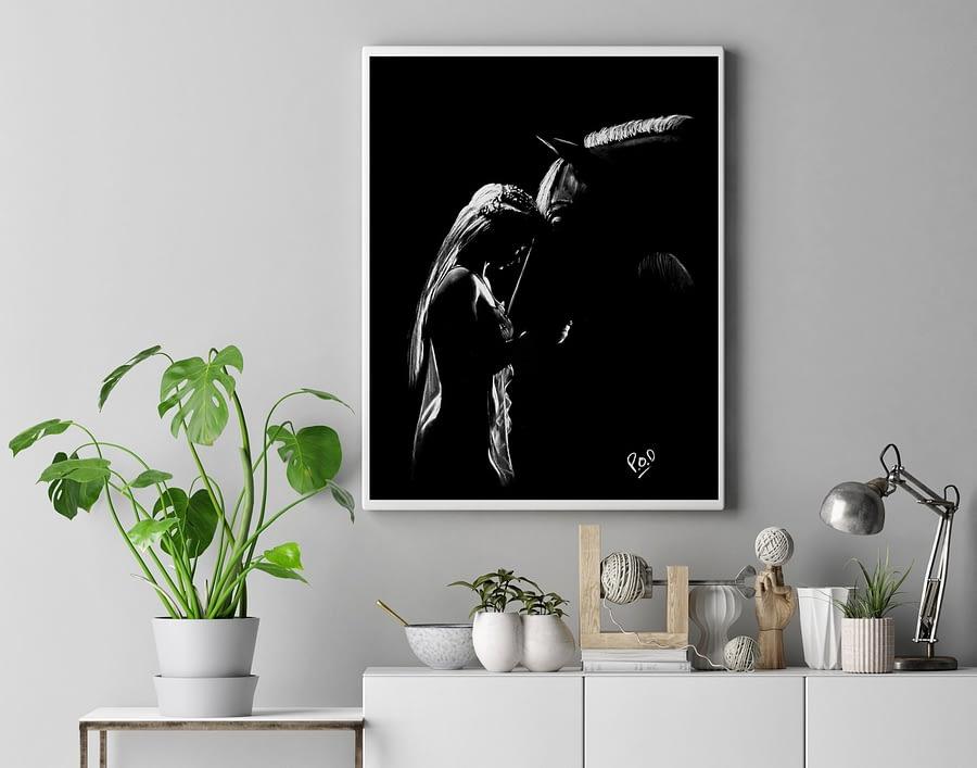 La fille et le cheval 3 au pastel sec – girl and horse painting
