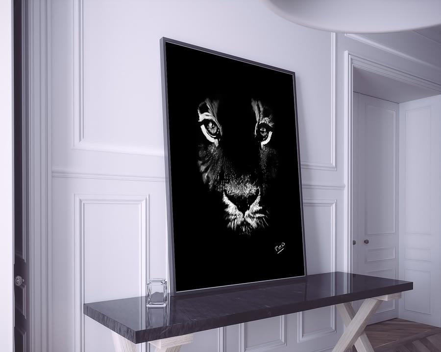 Peinture moderne de tigre au pastel sec 1
