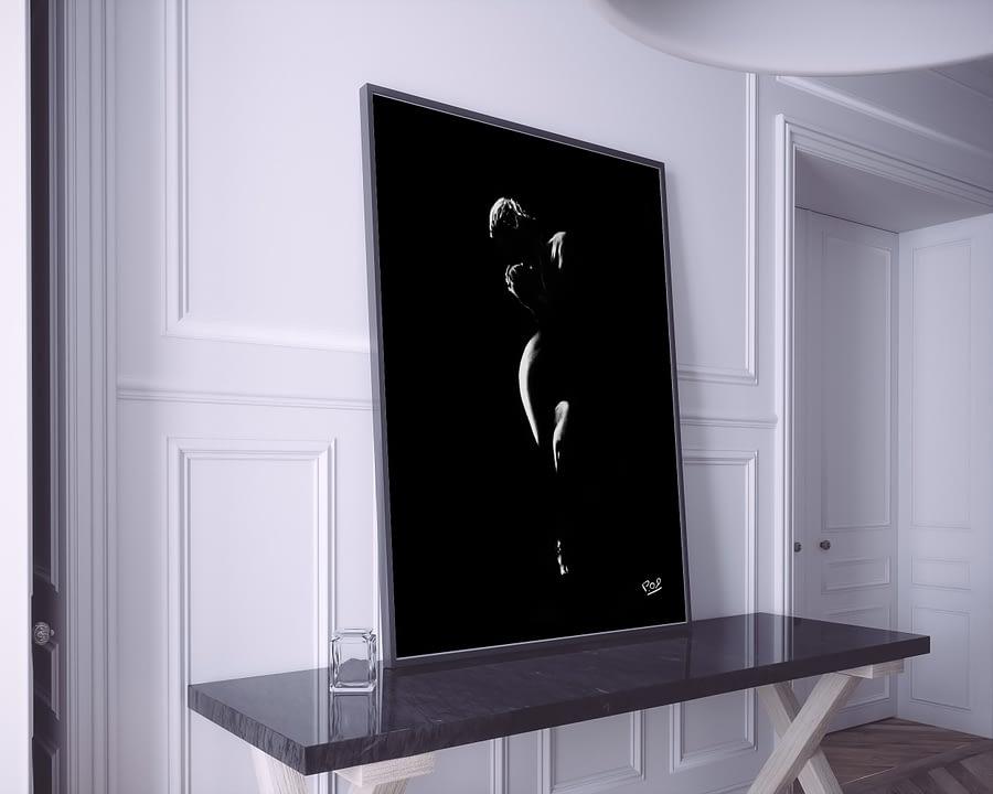 tableau moderne clair obscur de femme nue 42 au pastel sec