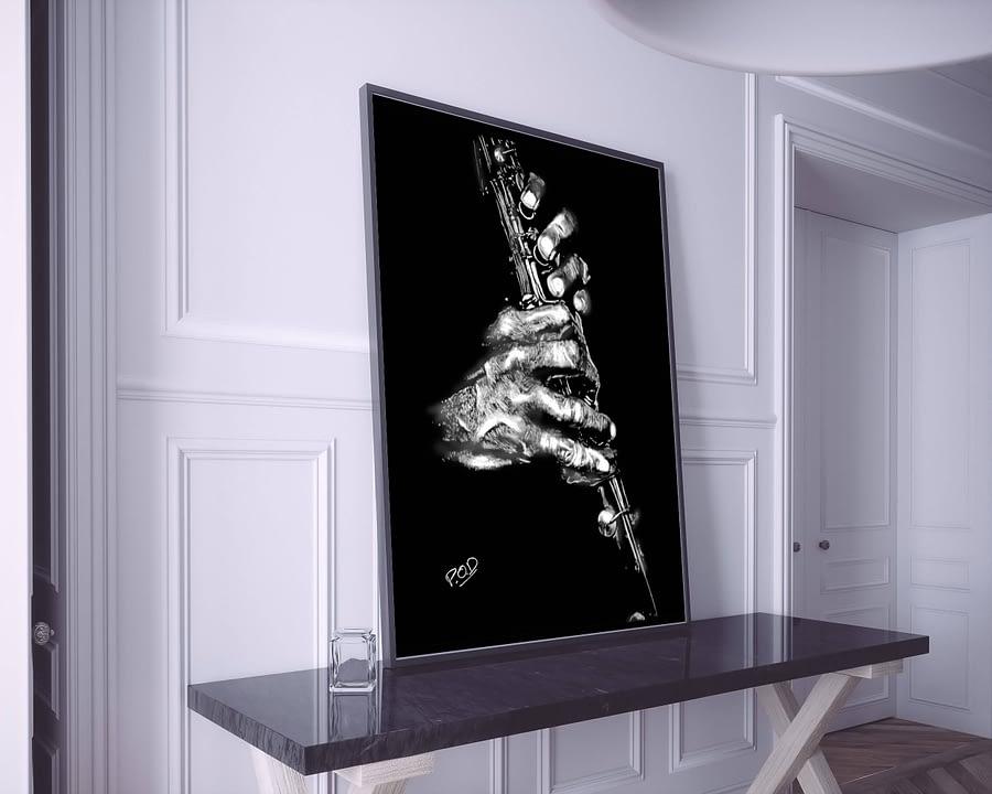 Tableau moderne de clarinettiste au pastel sec. Clarinetist musician painting