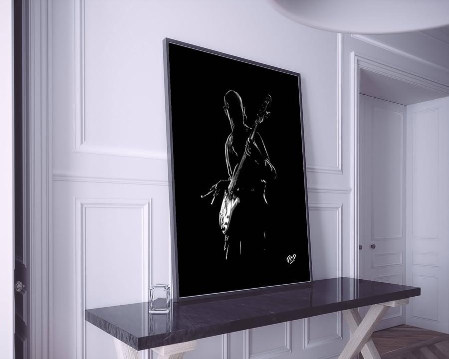 Tony Levin : Tableau de musique 14 peinture de bassiste au pastel sec. Bass player painting