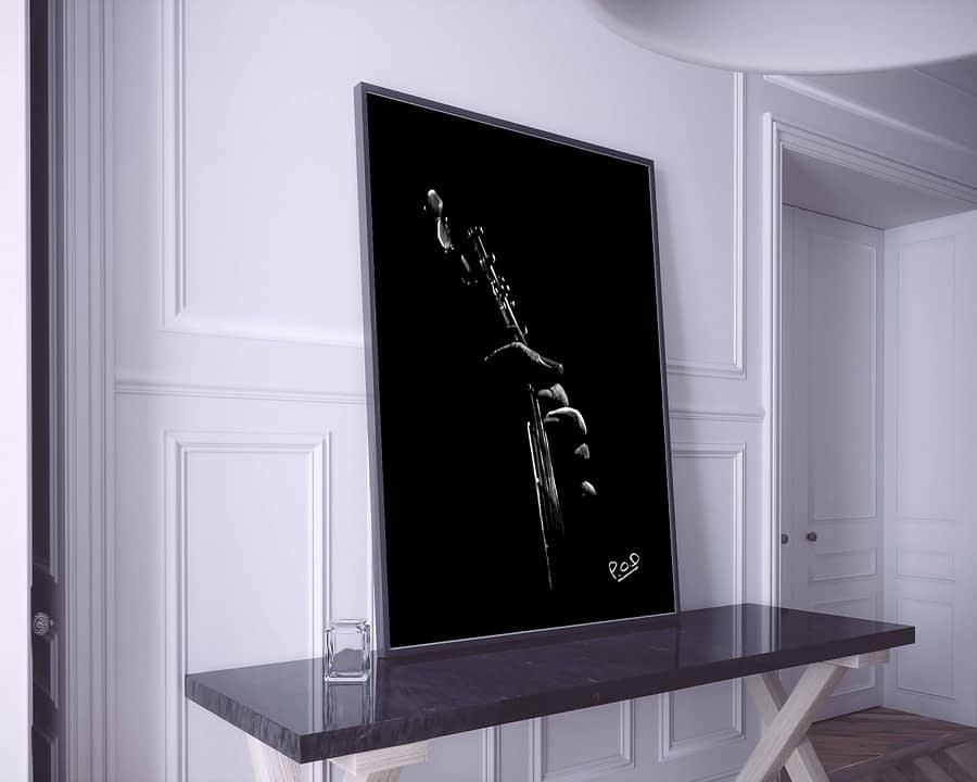 Tableau de guitariste 2 blanc sur fond noir. Guitarist modern painting