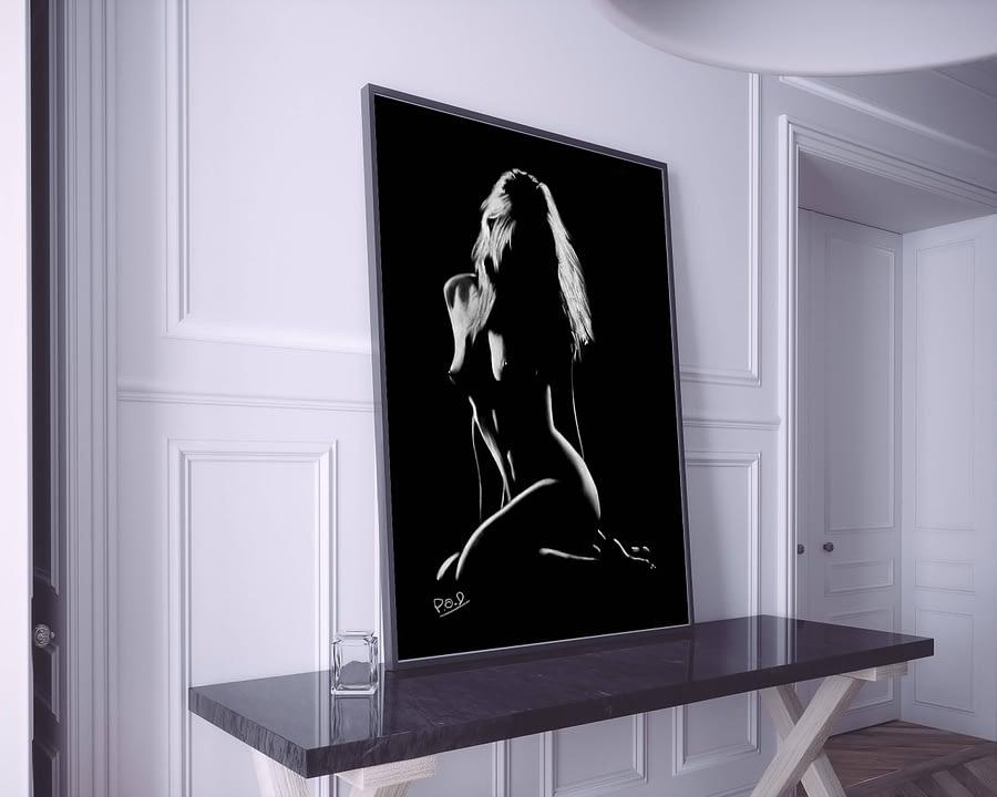 tableau moderne femme nue accroupie 47 au pastel sec