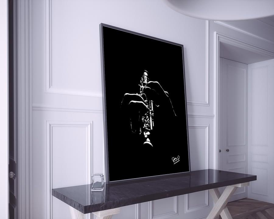 Tableau de musique hautboïste 1 au pastel sec. Oboe musician modern painting