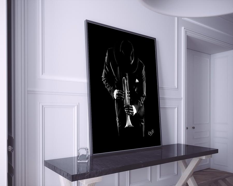 Tableau de musique trompettiste 2 au pastel sec. Tumpet musician modern painting