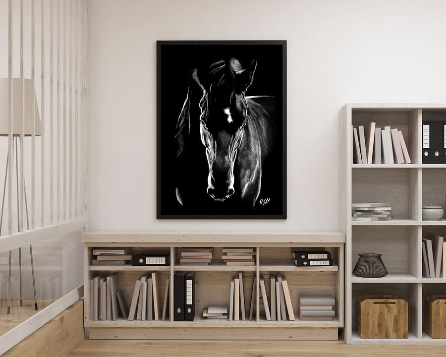 tableau moderne cheval 4 au pastel sec – horse painting number 4