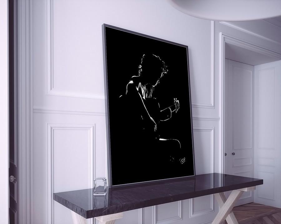 La guitariste tableau moderne peinture au pastel sec . Guitarist woman painting music