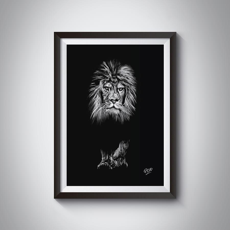 Peinture moderne de lion 2 au pastel sec