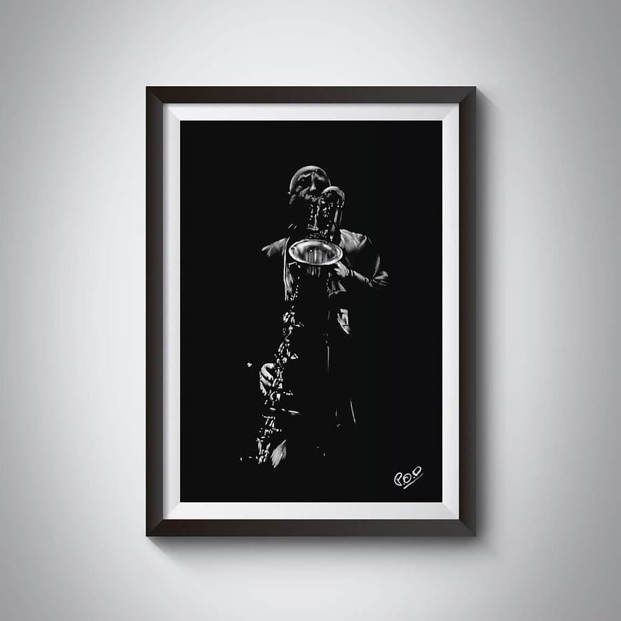 Le saxophoniste 5 : Tableau de musique – saxophoniste au pastel sec. Saxophonist jazz modern painting