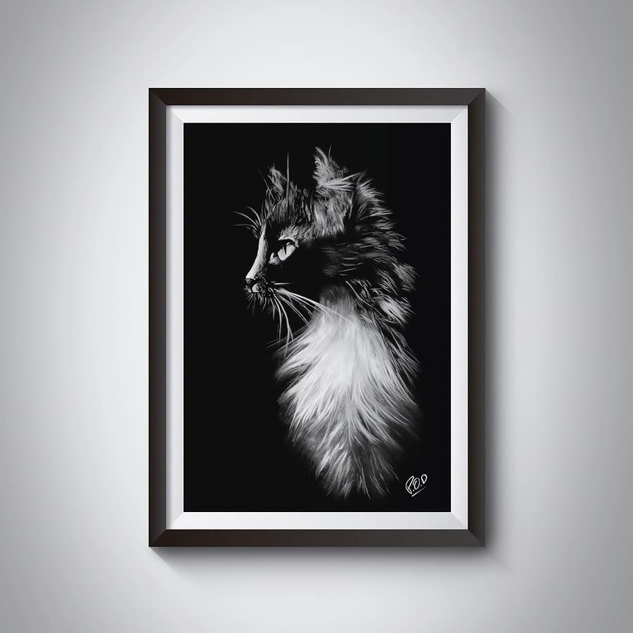 tableau moderne de chat 2 au pastel sec